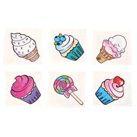 Sweet Treat Ice Cream and Cupcake Tattoos - 72 pcs