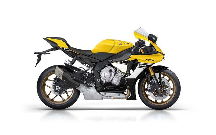 Descargar fondos de pantalla Yamaha YZF-R1, el 60 Aniversario De 2017, moto Deportiva, amarillo, negro YZF-R1 de Yamaha