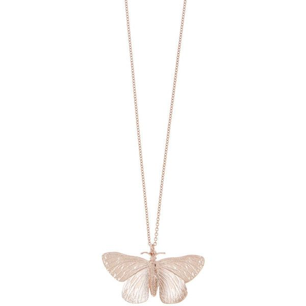 Alex Monroe Rose Gold Duke of Burgundy Butterfly Necklace found on Polyvore featuring jewelry, necklaces, engraved pendant necklace, rose gold pendant, cable chain necklace, engraved necklaces and long necklaces