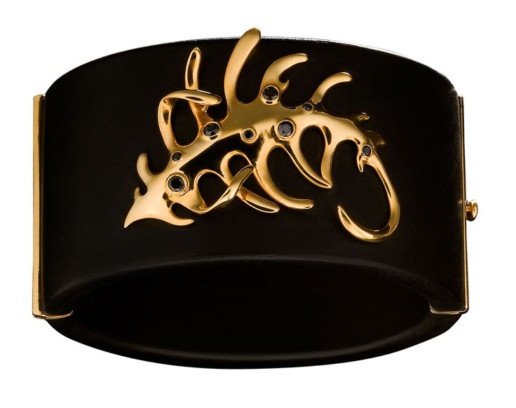 #huffyjewels #cuff #ebony #wood  #fern #bracelet  with 18k #gold #fern #sprezzatura #collection www.huffyjewels.com
