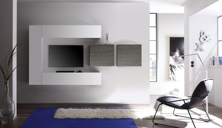 Ensemble meuble TV blanc laqué brillant et gris design NUSCO 2 ...