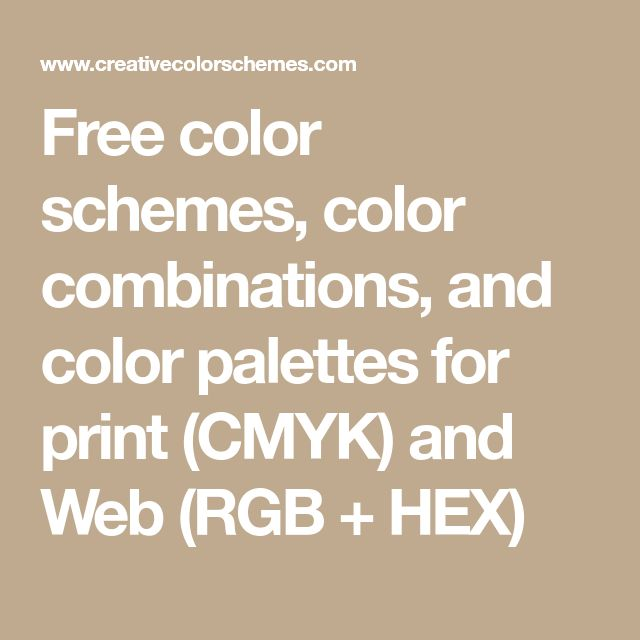 Free color schemes, color combinations, and color palettes for print (CMYK) and Web (RGB + HEX)