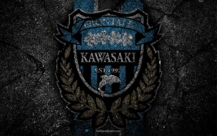 Download wallpapers Kawasaki Frontale, logo, art, J-League, soccer, football club, FC Kawasaki Frontale, asphalt texture