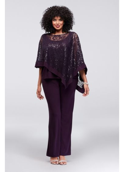 0e500ced21f42 Sequin Lace Plus Size Pantsuit with Sheer Capelet 8998WD