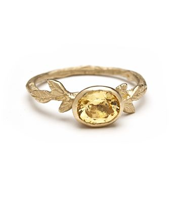 Twiggy Band with Oval Cut Yellow Sapphire $1650, non-traditional wedding band, engagement ring, stacking band