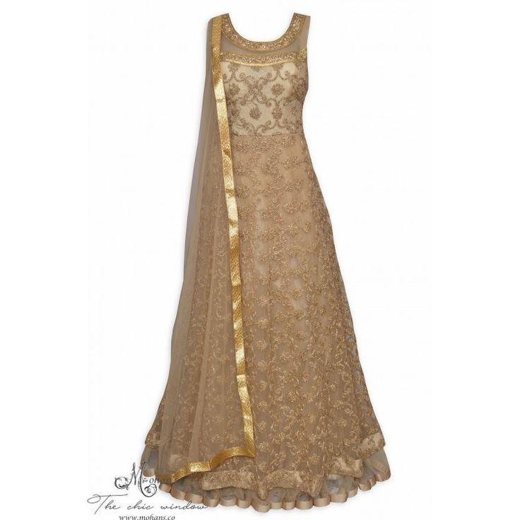 Enchanting beige stitched frock suit featuring in heavy dori jaal work-Mohan's the chic window