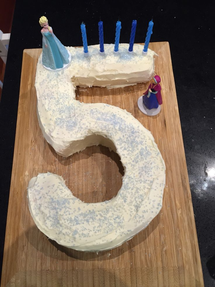"Number 5 cake with a Frozen theme for Lucas' 5th birthday. Nothing flash as the ""real"" cake is yet to come- image only"