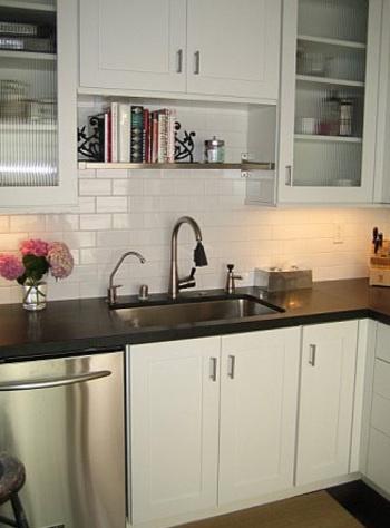 Bookshelf idea for above the kitchen sink - recipe book storage??