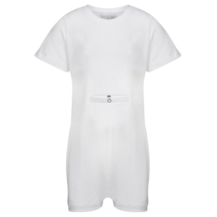 KayCey SUPER SOFT Bodysuit - Short Sleeve with Tube Access - White | http://specialkids.company/