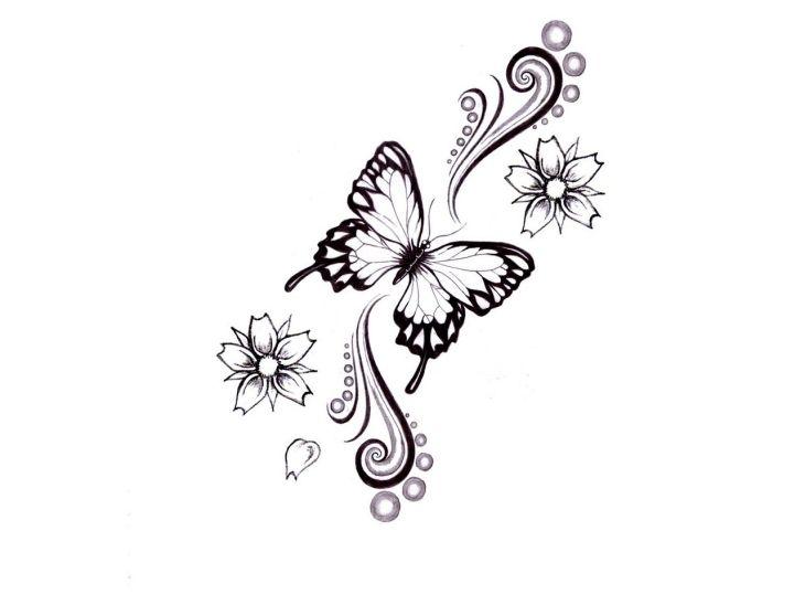 Vorlage für ein Schmetterling tattoo mit Blumen