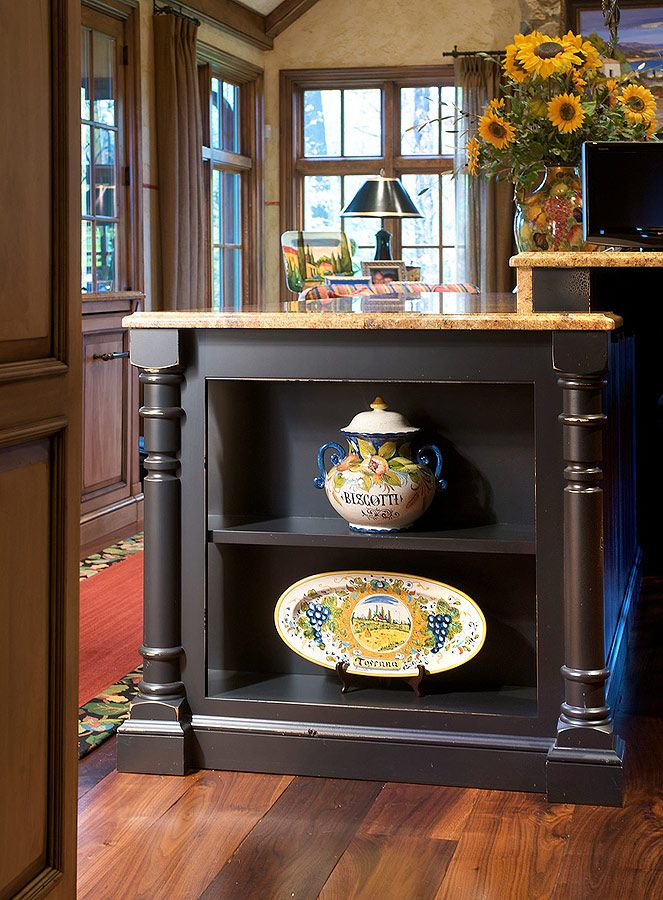 Kitchen Island With Open End Shelves Moldings
