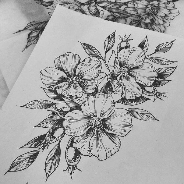 Эскизы цветов татуировок