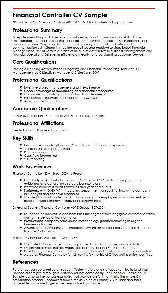 F B Controller Resume Format Controller Format Resume Resumeformat Financial Analysis Budget Forecasting Financial