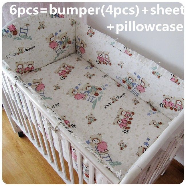 Promotion! 6/7PCS Baby crib bedding set Baby cot bedding 100% cotton cheap crib bedding bumper , 120*60/120*70cm