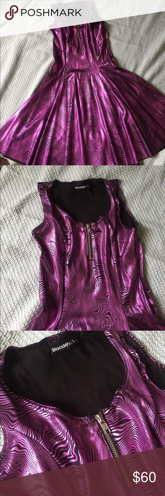 Black Milk Clothing Evil Zip Front Dress L Never worn Black Milk Clothing metallic pink/purple zip front skater dress size large Blackmilk Dresses