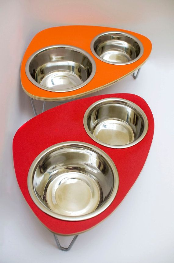 Raised Pet Feeder  with double stainless steel bowls and aluminum v-legs SMALL 4-6 inches. $44.00, via Etsy.