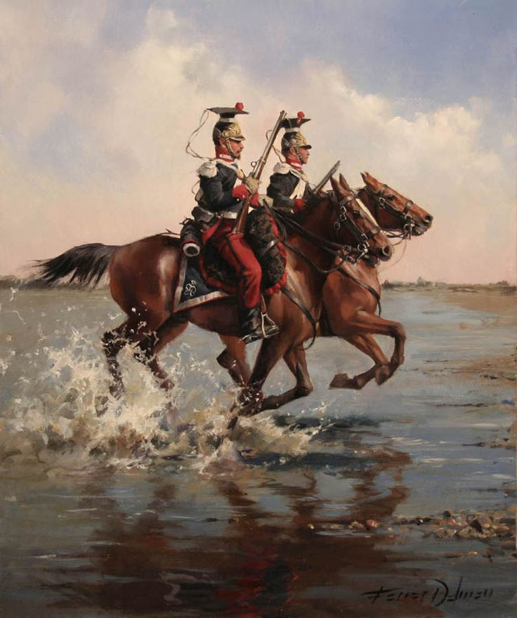 Tiradores de la Guardia Real de España en 1834. Cuadro de Ferrer Dalmau.