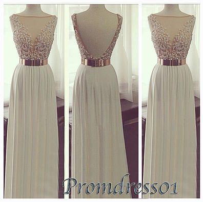 prom dresses - cute backless creamy white chiffon long prom dress for teens, custom made ball gown for season 2015