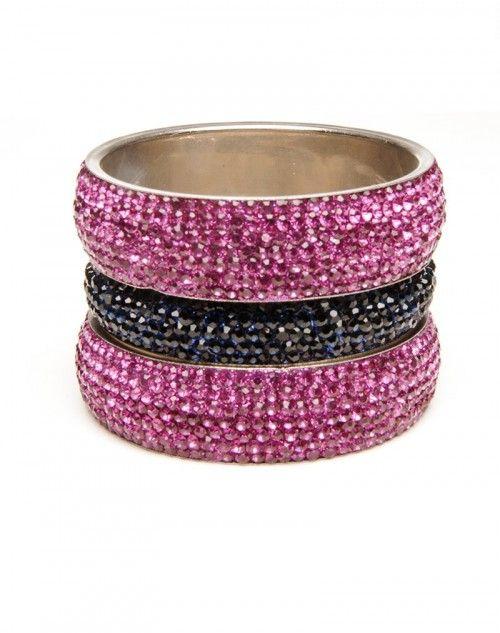 Two wide Pink Topaz Aura bangles with one skinny Blue Aura bangle. Statement making jewelry! Three pieces. www.hamptonbanglecompany.com #bangle #jewelry #accessory #girl #sexy #fashion #stackable #bracelet  #imaginehappy