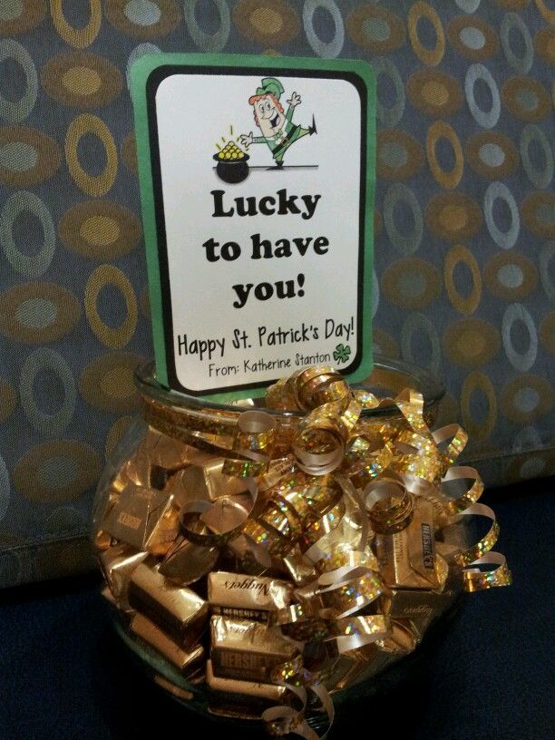 St. Patricks Day treat. Goldfish bowl filled with rolos. I placed this in the nurses break room while my daughter was a patient in the hospital as a thank you treat.