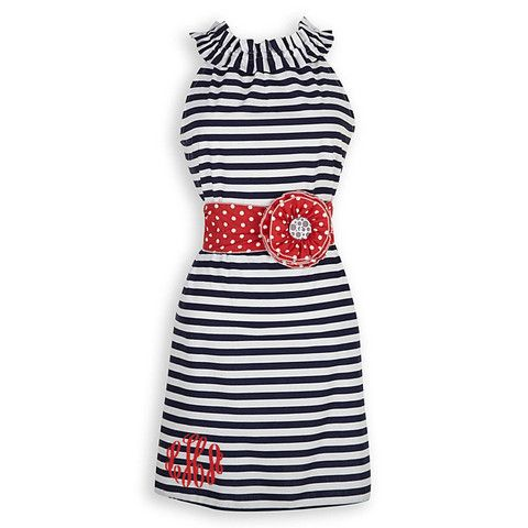 Ladies Navy Stripe Red Dot Sash Ruffle Neck DressLolly Wolly