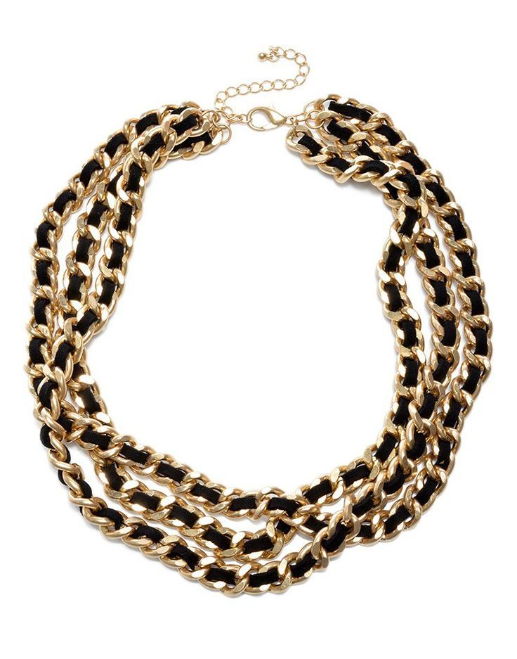 MAJIQUE | Chain Necklace in Black and Gold -  - Style36