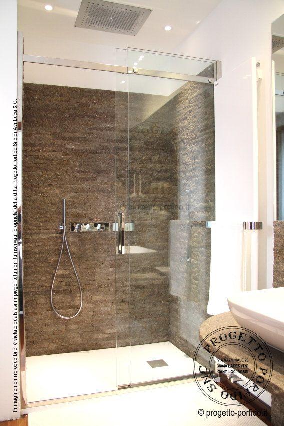 Rivestimento doccia con porfido trentino lati segati e coste a vista a spacco...