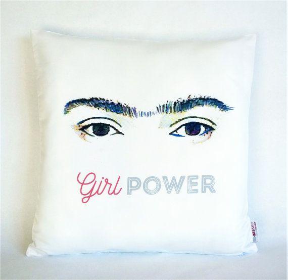 Girl Power Frida Kahlo pillow, Pillowcase, Sofa Pillow, Feminist Cushion, Feminist Decor, Pillow cover, Feminist gift