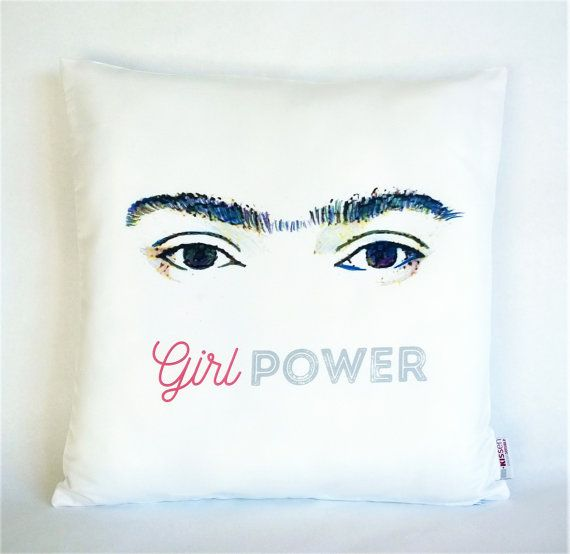 Girl Power Frida Kahlo pillow, Pillowcase, Sofa Pillow, Feminist Cushion, Feminist Decor, Pillow cover, Feminist gift