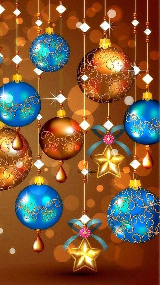 Fondo de celular de adornos navideños