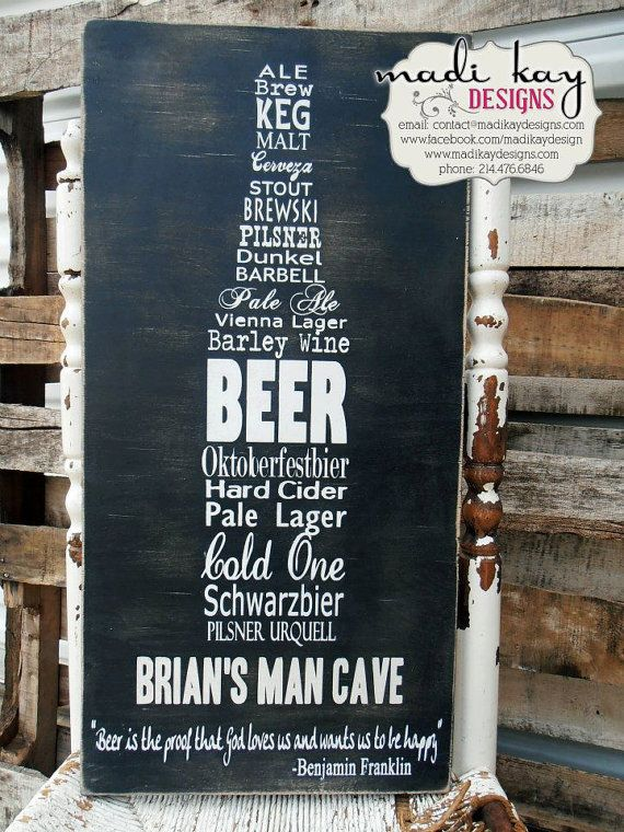 Personalized Man Cave Sign on Wood or Canvas - could have names of his favourite beers!
