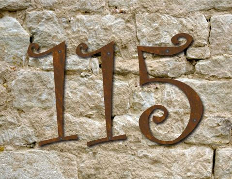 Set of 4 - 5 inch - Custom Rustic House Numbers / Numbers / Initials / Wall Hanging / Address. $34.00, via Etsy.