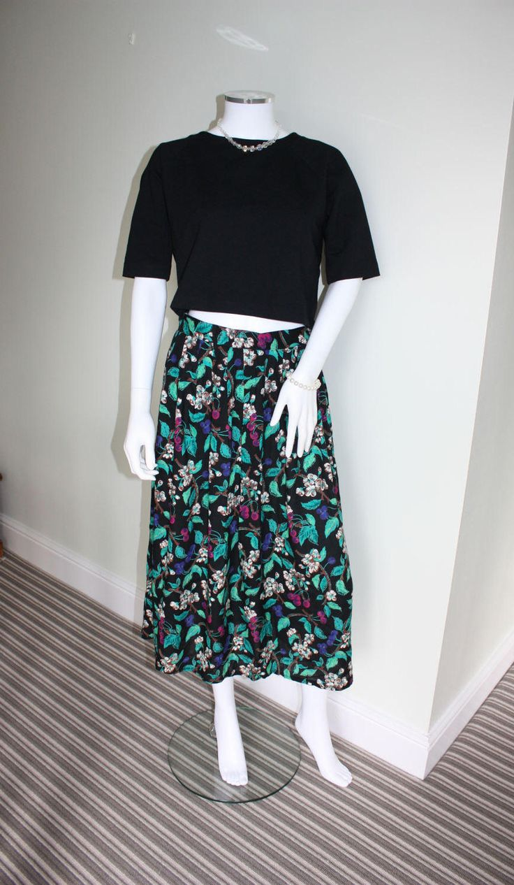 Floral pleated maxi skirt, 1990s festival skirt, floral print skirt, boho skirt, 90s grunge, festival clothes, indie clothes, summer clothes by GoingAroundAgain on Etsy