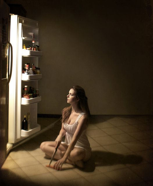 Gregory Crewdson. Lit from the fridge, interesting. Different sources of light used from the room