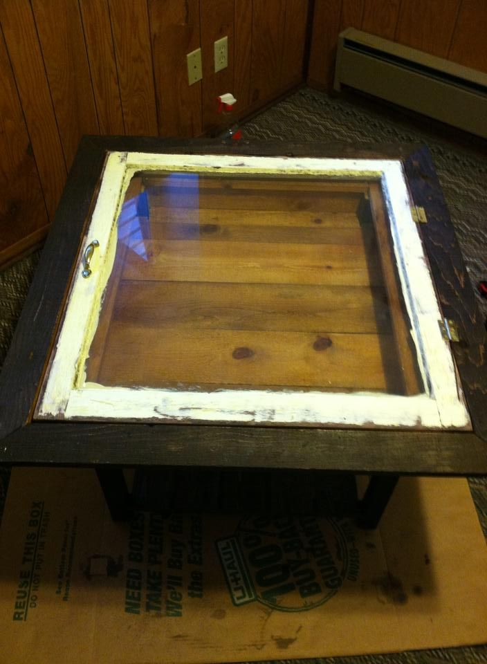 Shadow Box Style Coffee Table Made From Reclaimed Shipping Pallets And  Wooden Windows