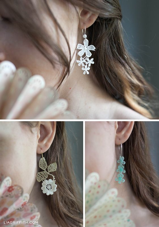 These elegant and delicate earrings are so easy to make with some pretty lace, decoupage, paint and earring hooks. See the steps on how to make them.