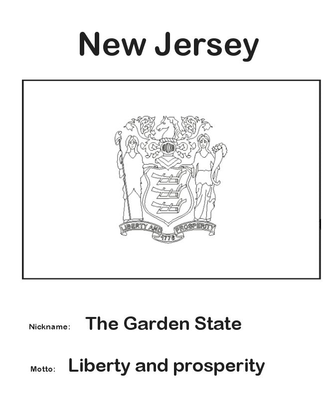 garden state parkway sign coloring pages | USA-Printables: New Jersey State Flag - State of New ...