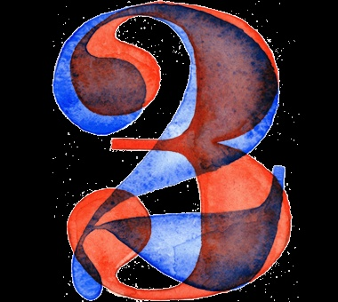 Watercolor Numbers typography
