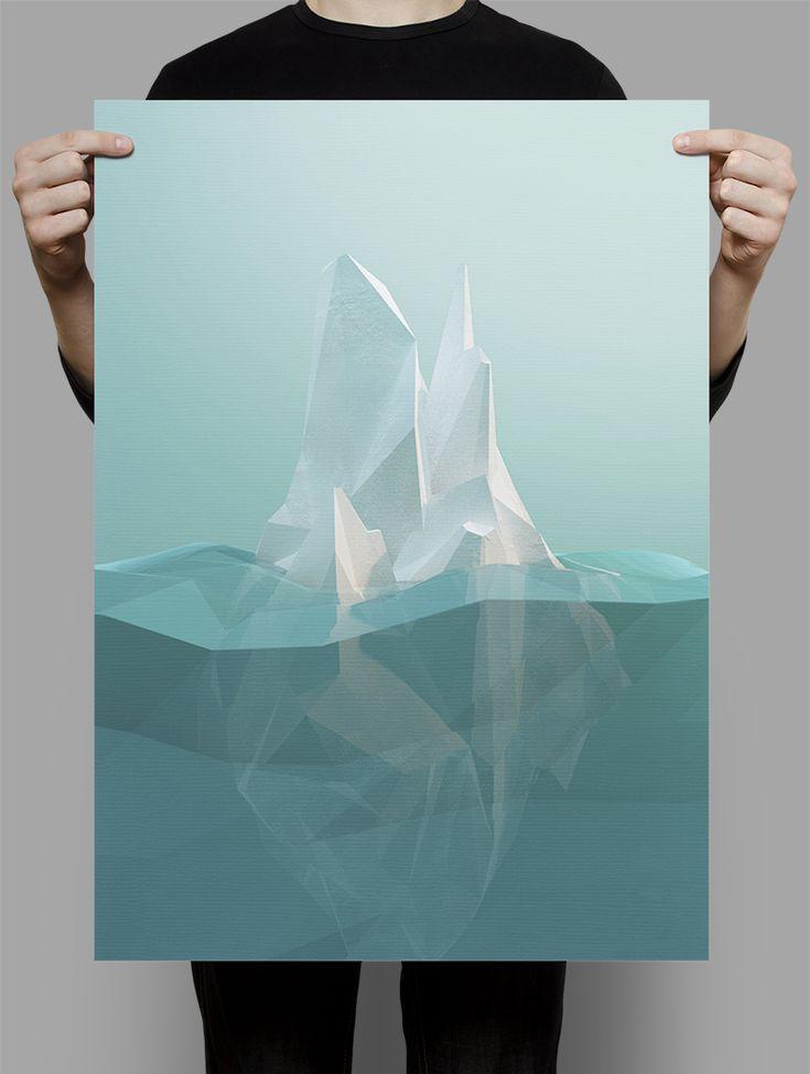 POLYGON ICEBERG I love this polygon lookflat geometric color.