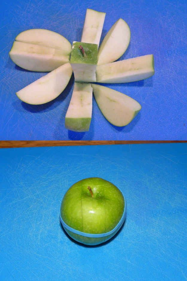 Put a rubber band around a sliced apple to keep it from turning brown.