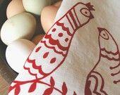 Linen Tea Towel - Scandinavian Folk Birds - Hand Screen Printed Dish Towel - Organic Kitchen Towel - Holiday Kitchen