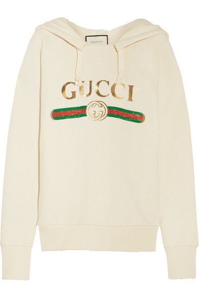 GUCCI Embroidered Cotton-Jersey Hooded Top. #gucci #cloth #tops