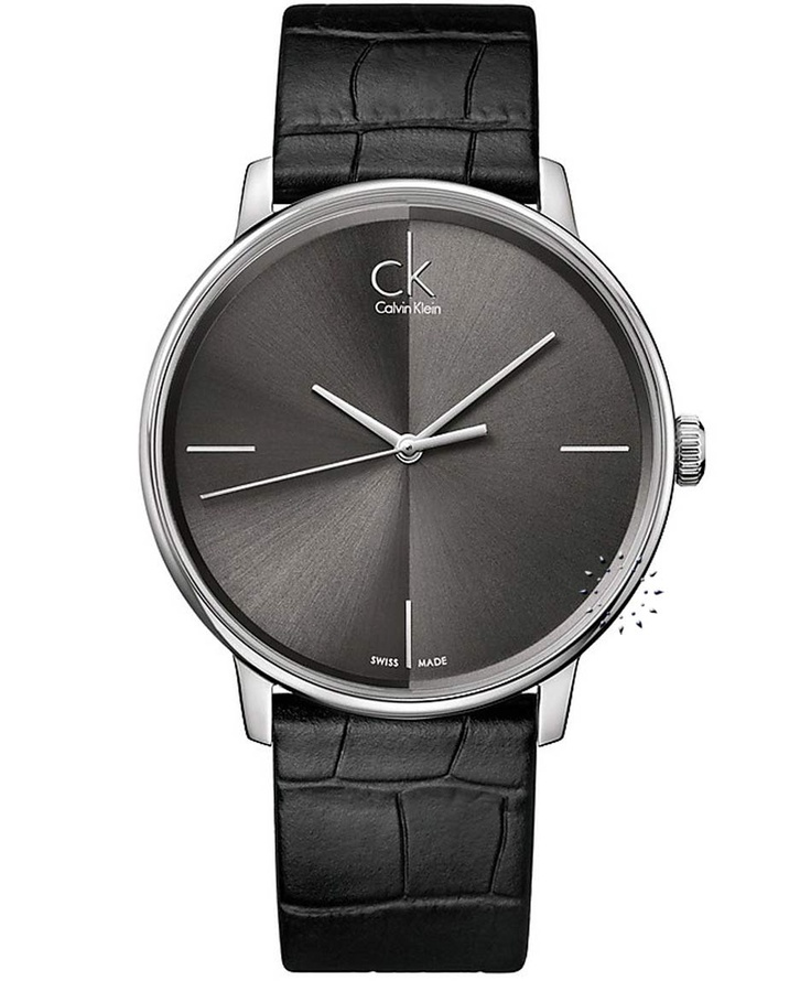 CALVIN KLEIN Accent Black Leather Strap  Τιμή: 216€  http://www.oroloi.gr/product_info.php?products_id=31314