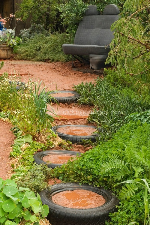 Tyre Garden Path,, But Use Rocks Instead Of Dirt In The Middle Of The