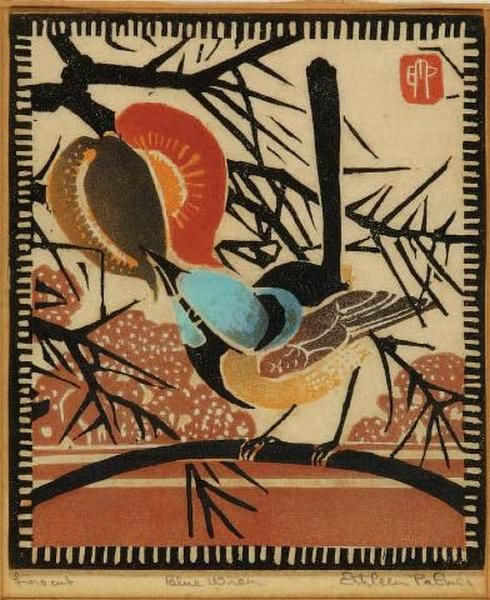 Blue Wren, Ethleen Palmer (1906-1958, ) Australian linocut artist influenced by Japanese prints. Printmaking achieved a high profile in Australia during the 1930s, and Ethleen Palmer achieved rapid popularity and recognition as one of Australia's leading linocut artists.