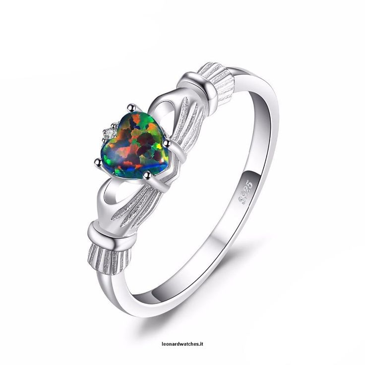Irish Claddagh Rainbow Ring  Vendor:  Leonardwatches          Type:            Price:              17.66                          Metals Type:  Silver    Side Stone:  Other Artificial material    Setting Type:  Prong Setting    Main Stone:  Opal    Shape\pattern:  Heart    Metal Stamp:  925,Sterling    CertificateType:  Third Party Appraisal    Color:  VVS, Multicolor Black    Main Stone:  Opal    Shape:  Heart  https://www.leonardwatches.it/products/irish-cladda..
