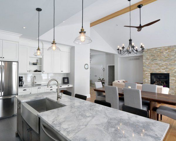 elegant kitchen design Super White granite countertop ideas white cabinets wood floor