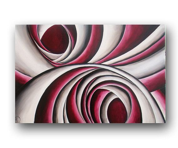 Contemporary Painting Raspberry Maroon and by heatherdaypaintings, $325.00