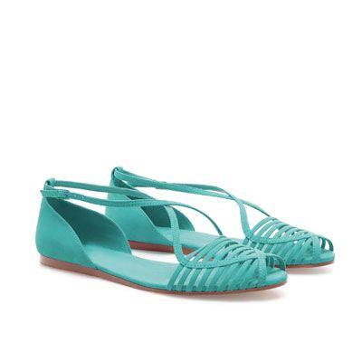 flat turquoise peep-toe sandals