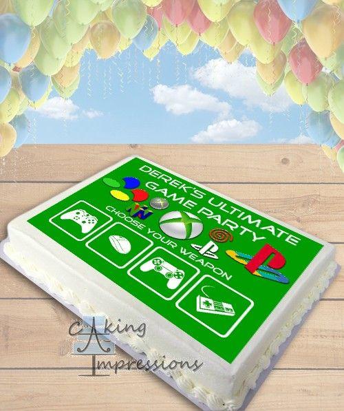 video game console edible image cake topper sheet - Halloween Cake Games